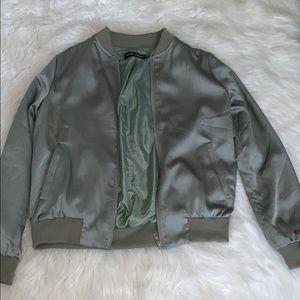 Carli Bybel X Missguided silk bomber jacket.